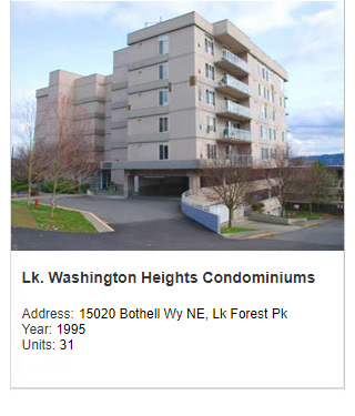 Photo of Lake Washington Heights Condominiums. Address: 15020 Bothell Way NE, Lake Forest Park WA. Year: 1995. Units: 31. Value: $10 million.