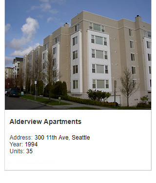 Photo of Alderwood Apartments. Address: 300 11th Ave, Seattle. Year: 1994. Units: 35. Value: $6 million.