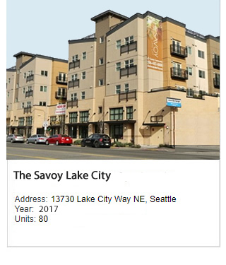 Photo of Lake City Way Senior Apartments (The Savoy at Lake City). Address: 13730 Lake City Way NE, Seattle. Year: Construction to start in 2015. Units: 80. Value: $27 million.