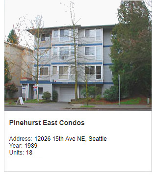 Photo of Pinehurt East Condos. Address: 12026 15th Ave NE, Seattle. Year: 1989. Units: 18. Value: $4 million.
