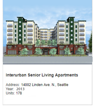 Architect rendering of Interurban Senior Living Apartments. Address: 14002 Linden Ave N, Seattle. Year: Construction to start in 2012. Units: 178. Value: $31 million.