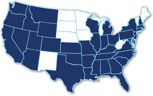 Map of U.S.A. 39 states are colored blue to depict the states where EB5 Coast To Coast regional centers operate