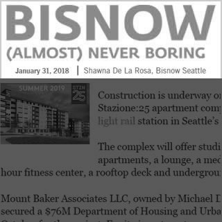 Bisnow news cover image January 31, 2018. Article written by Shawna De La Rosa.