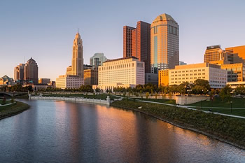 EB-5 Regional Center in Ohio. Photo of downtown Ohio along the Olentangy River.
