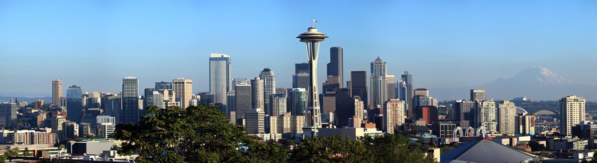 Panoramic photo of Seattle Washington, space needle and city skyline